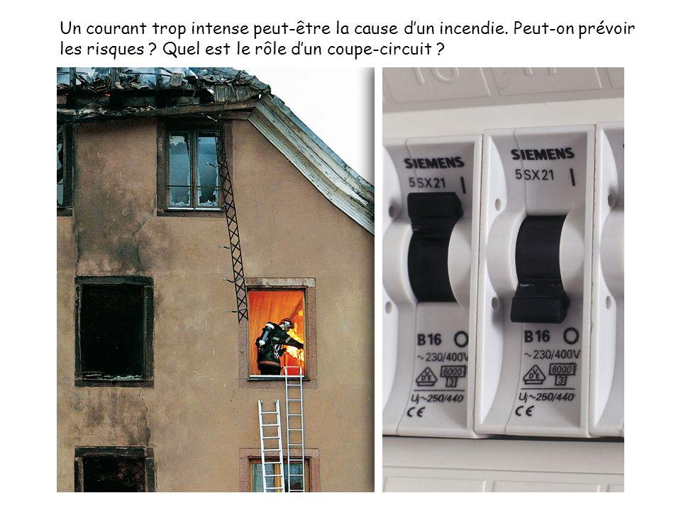 Un courant trop intense peut-être la cause d'un incendie