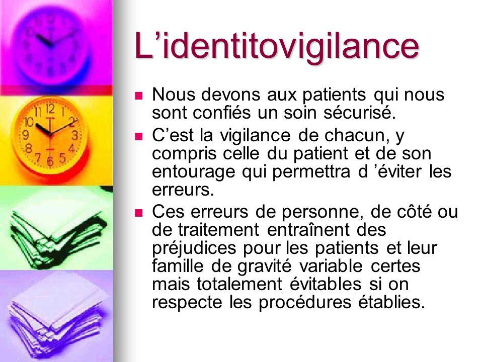 L'identitovigilance Nous devons aux patients qui nous sont confiés un soin sécurisé.