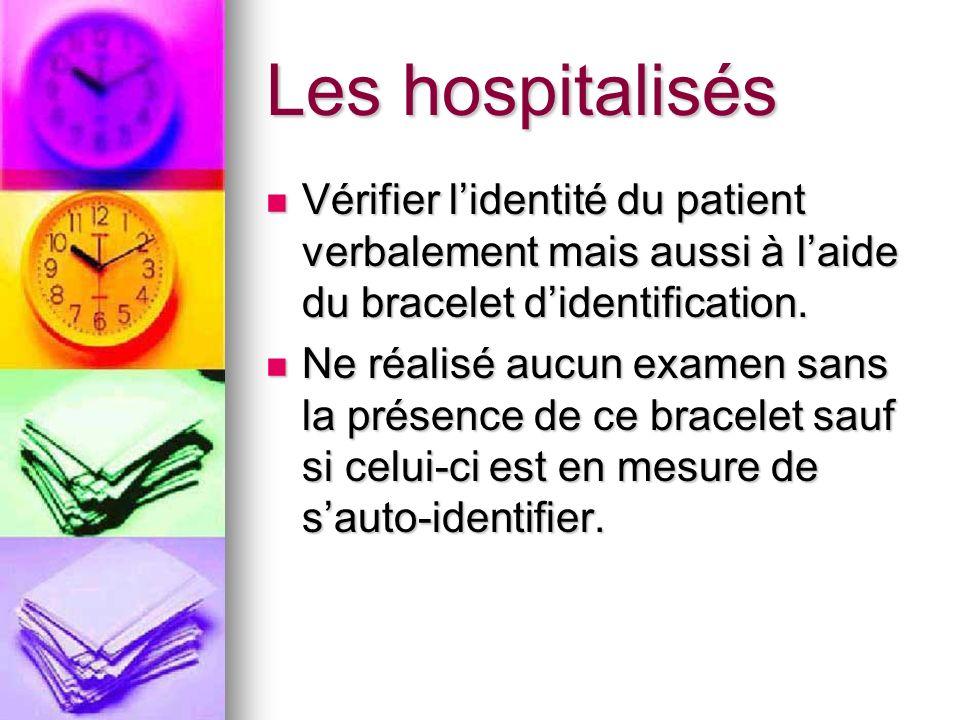 Les hospitalisés Vérifier l'identité du patient verbalement mais aussi à l'aide du bracelet d'identification.