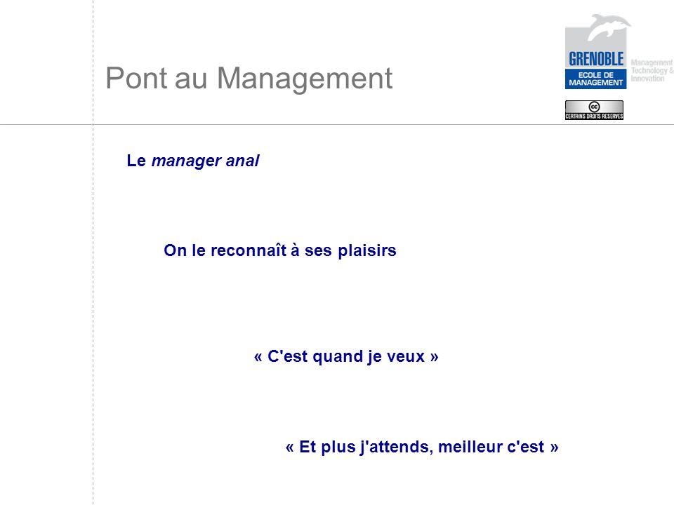 Pont au Management Le manager anal On le reconnaît à ses plaisirs