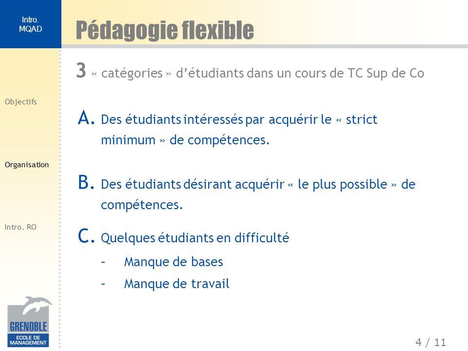 Pédagogie flexible 3 « catégories » d'étudiants dans un cours de TC Sup de Co.