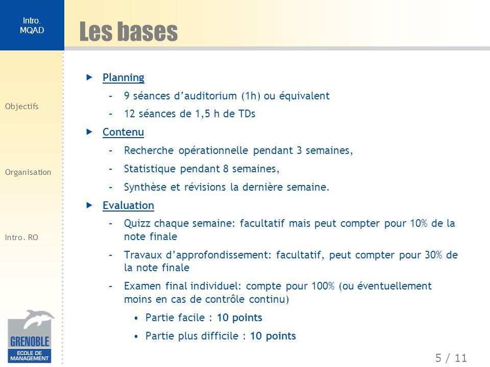 Les bases Planning 9 séances d'auditorium (1h) ou équivalent