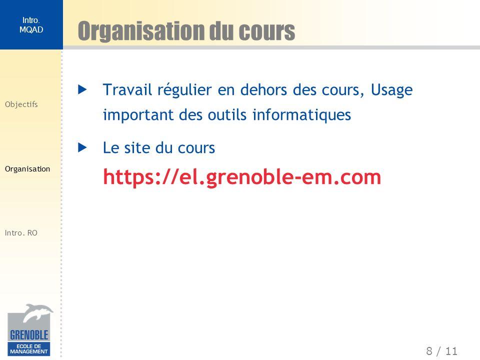 Organisation du cours Travail régulier en dehors des cours, Usage important des outils informatiques.