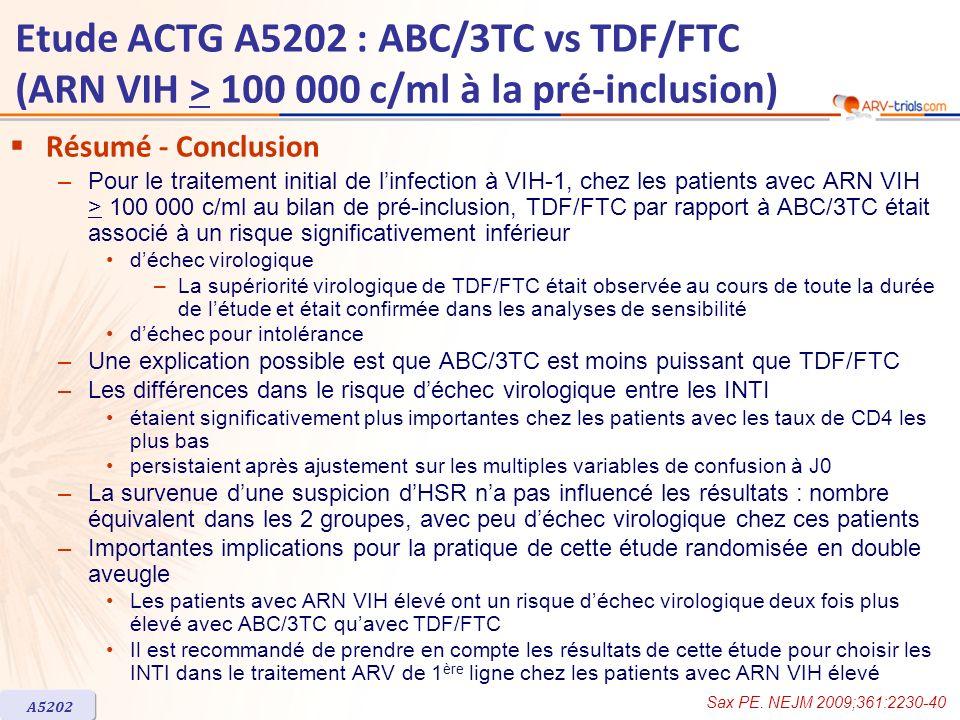 ARV-trial.com Etude ACTG A5202 : ABC/3TC vs TDF/FTC (ARN VIH > 100 000 c/ml à la pré-inclusion) Résumé - Conclusion.