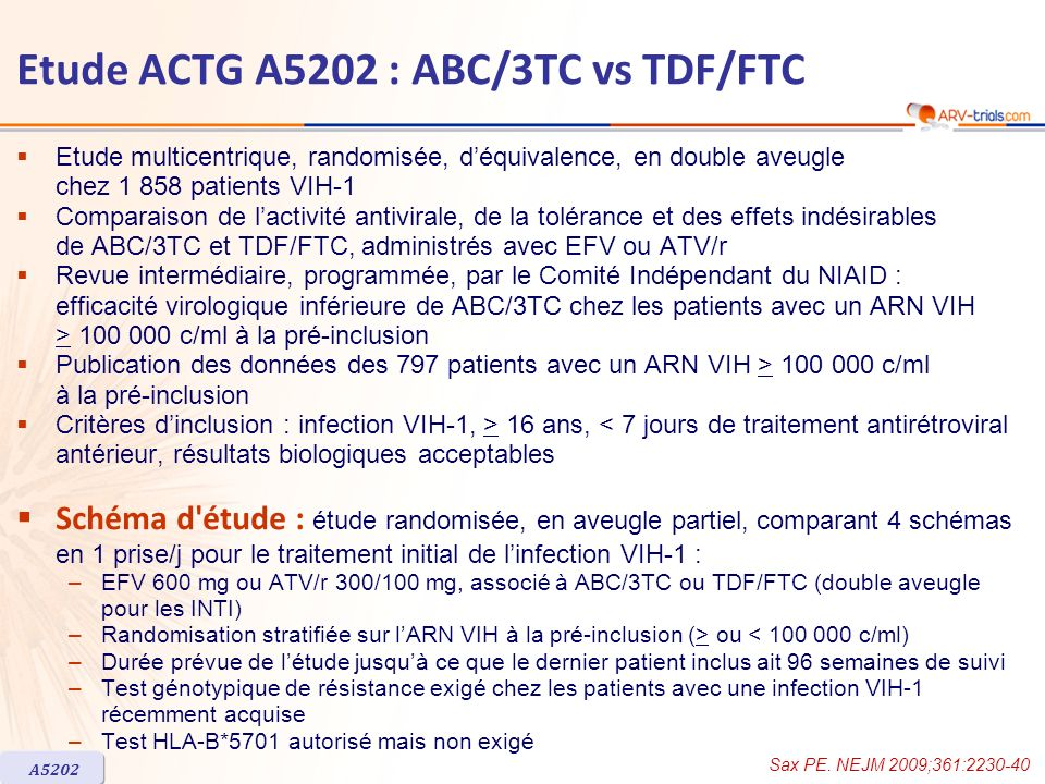 Etude ACTG A5202 : ABC/3TC vs TDF/FTC