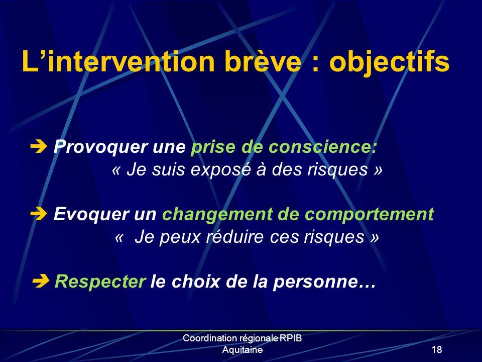 L'intervention brève : objectifs