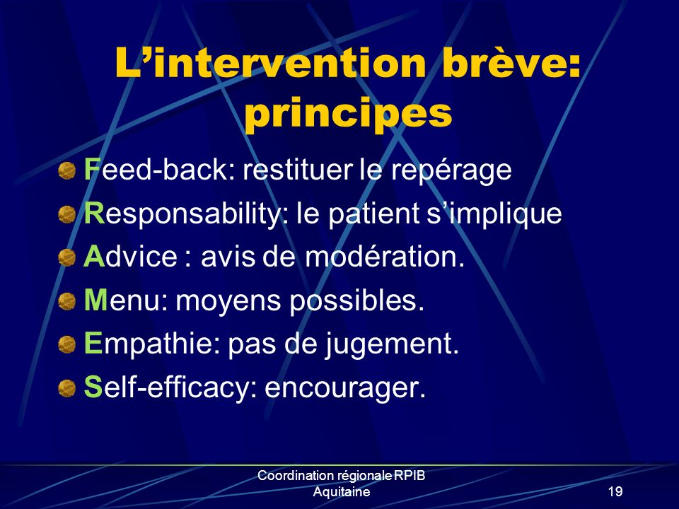L'intervention brève: principes