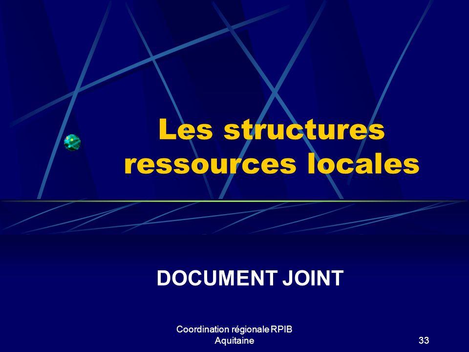 Les structures ressources locales