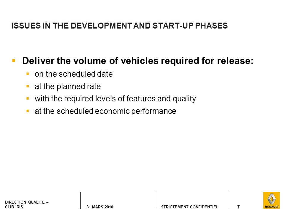 ISSUES IN THE DEVELOPMENT AND START-UP PHASES