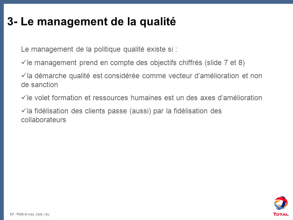 3- Le management de la qualité