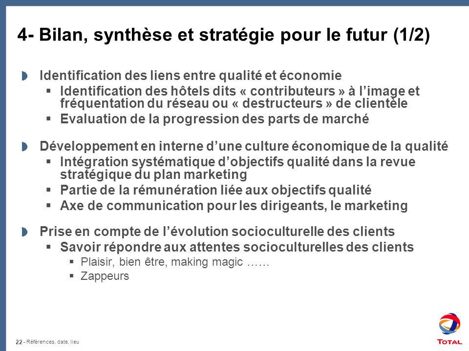 4- Bilan, synthèse et stratégie pour le futur (1/2)