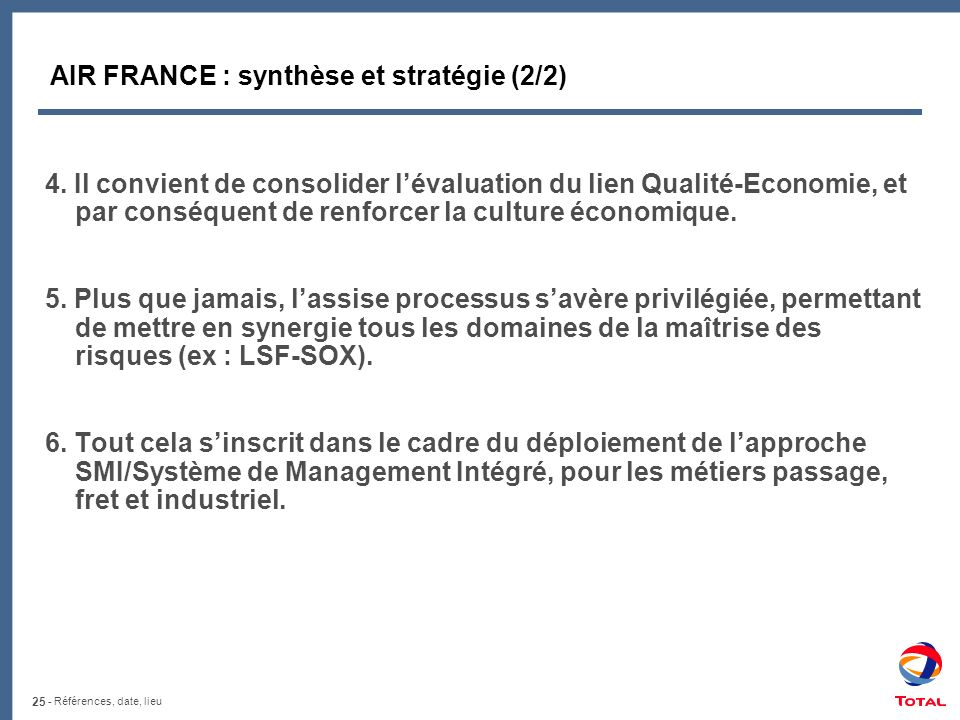 AIR FRANCE : synthèse et stratégie (2/2)