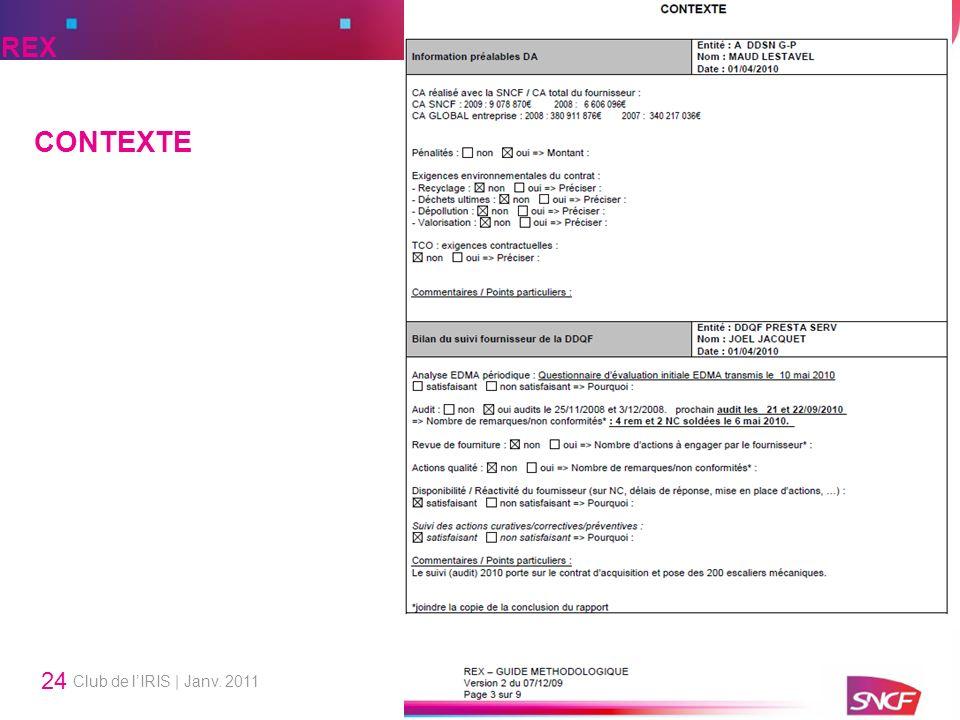 REX CONTEXTE Club de l'IRIS | Janv. 2011