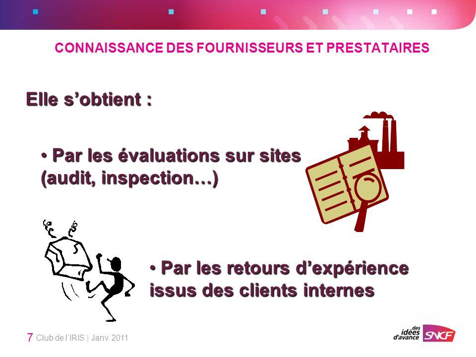 CONNAISSANCE DES FOURNISSEURS ET PRESTATAIRES