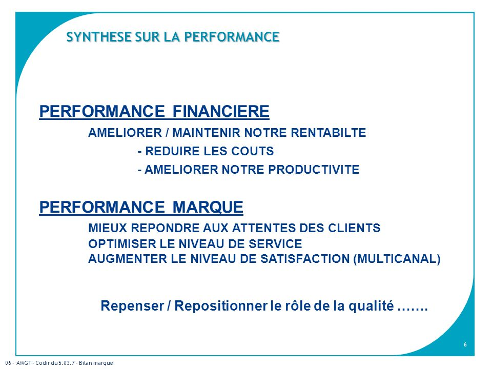SYNTHESE SUR LA PERFORMANCE