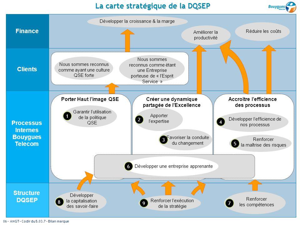 La carte stratégique de la DQSEP