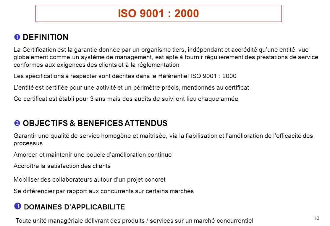 ISO 9001 : 2000  DOMAINES D'APPLICABILITE  DEFINITION