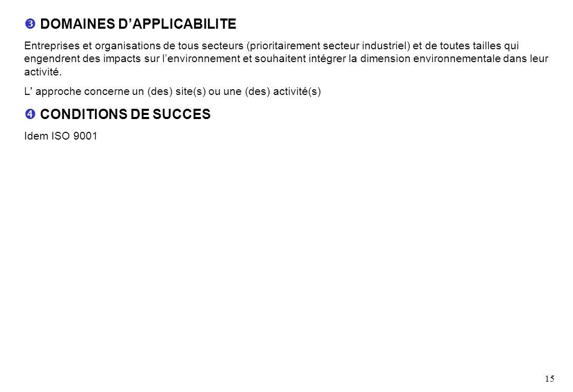  DOMAINES D'APPLICABILITE