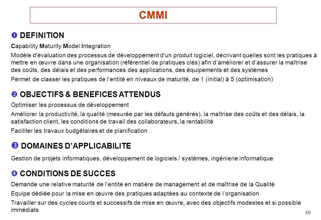 CMMI  DOMAINES D'APPLICABILITE  DEFINITION