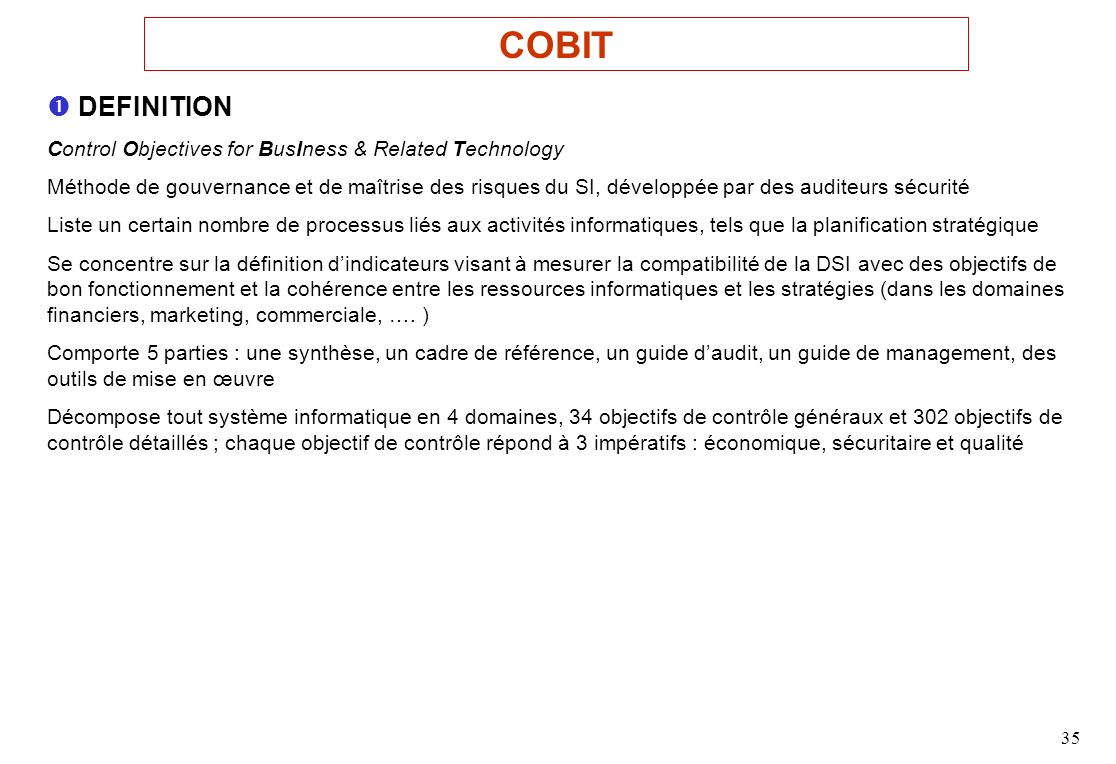 COBIT  DEFINITION. Control Objectives for BusIness & Related Technology.