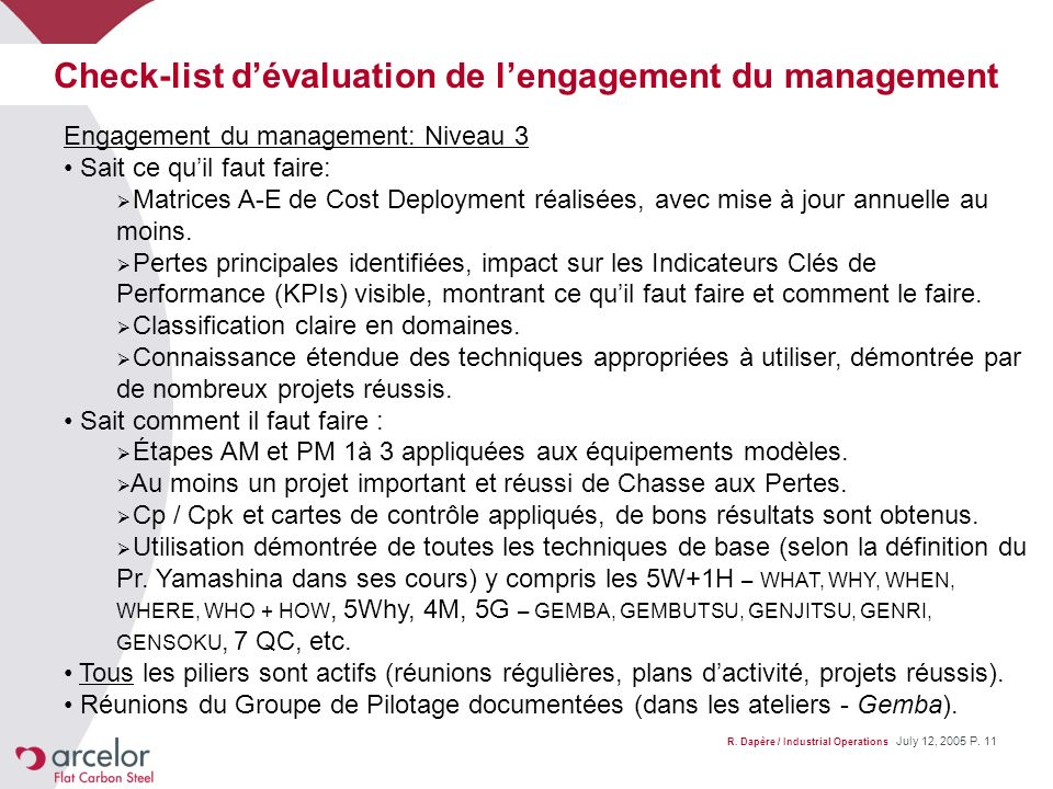 Check-list d'évaluation de l'engagement du management