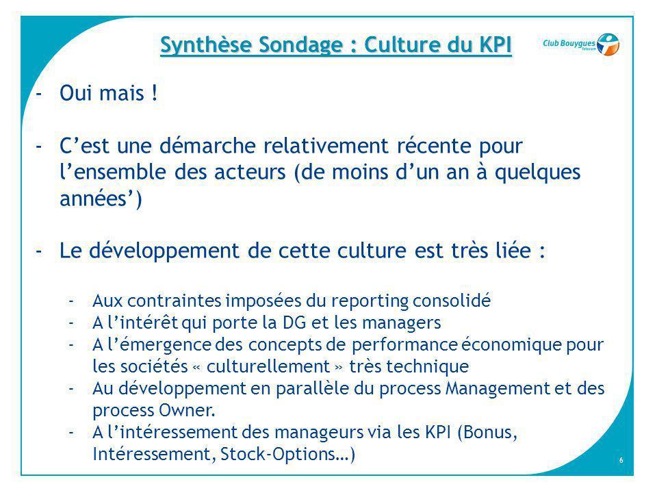 Synthèse Sondage : Culture du KPI