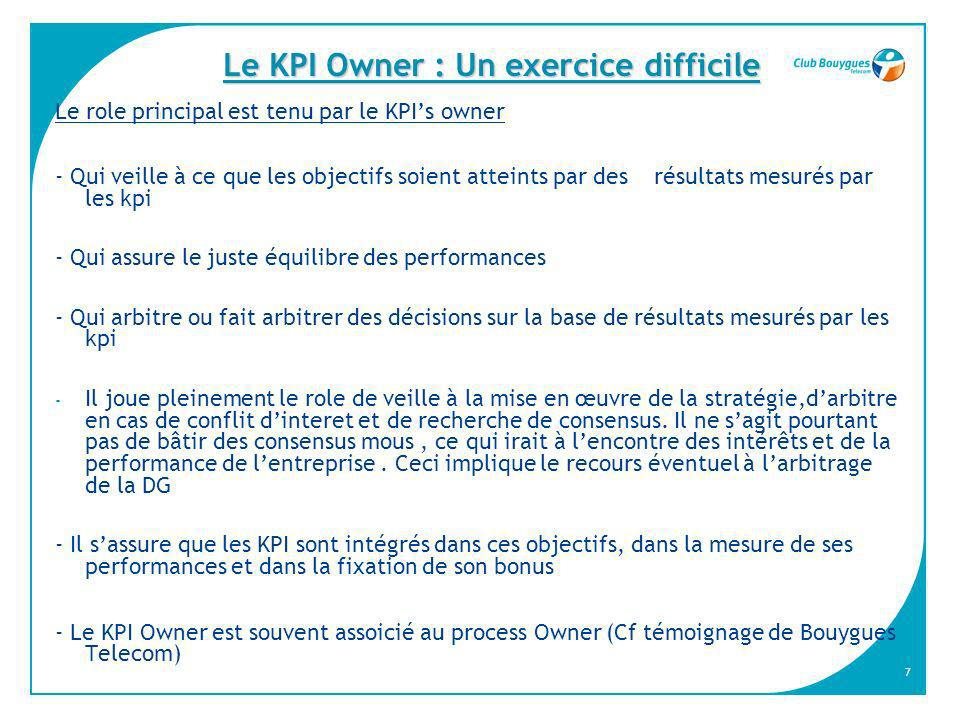 Le KPI Owner : Un exercice difficile