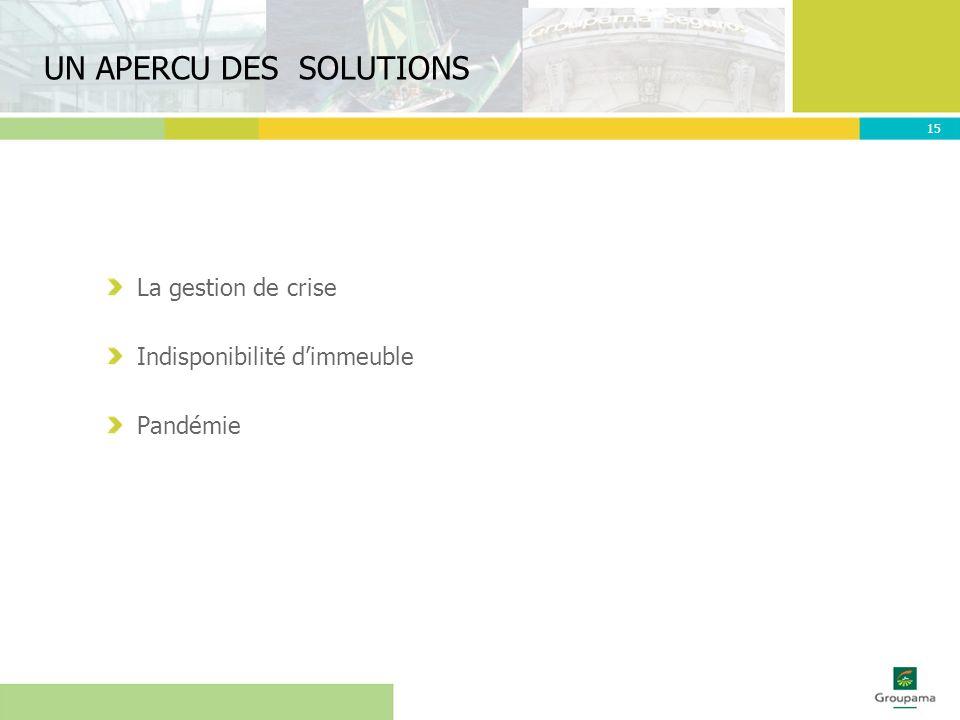 UN APERCU DES SOLUTIONS