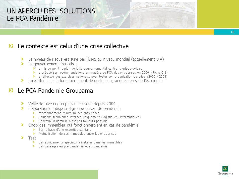 UN APERCU DES SOLUTIONS Le PCA Pandémie