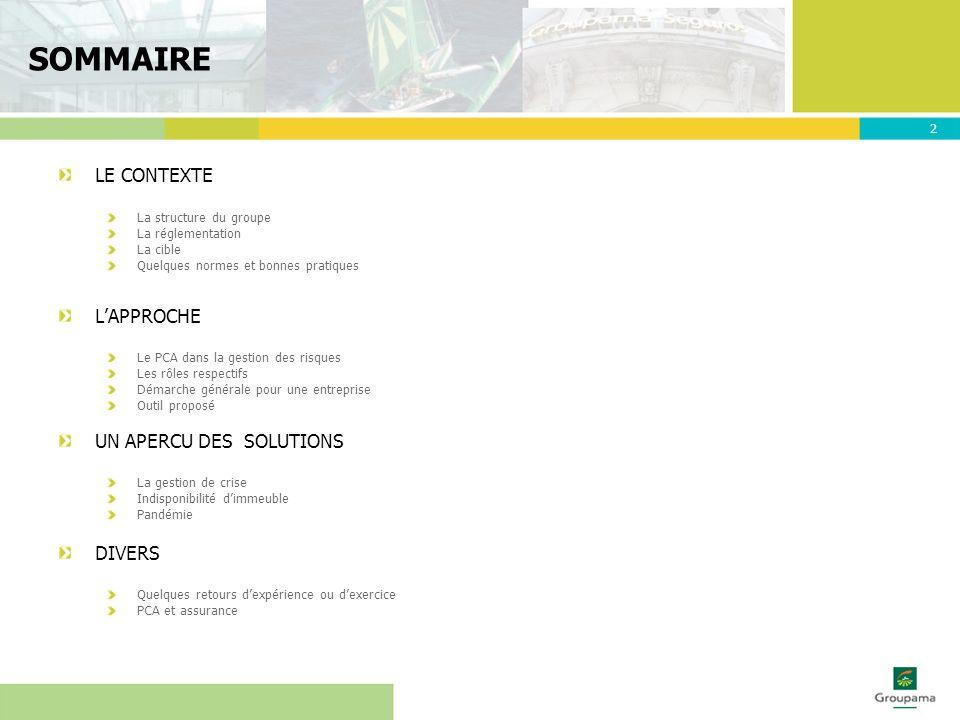 SOMMAIRE LE CONTEXTE L'APPROCHE UN APERCU DES SOLUTIONS DIVERS