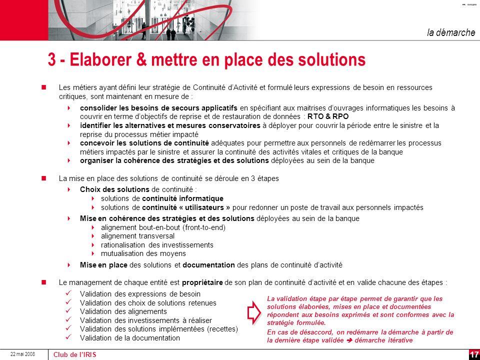 3 - Elaborer & mettre en place des solutions