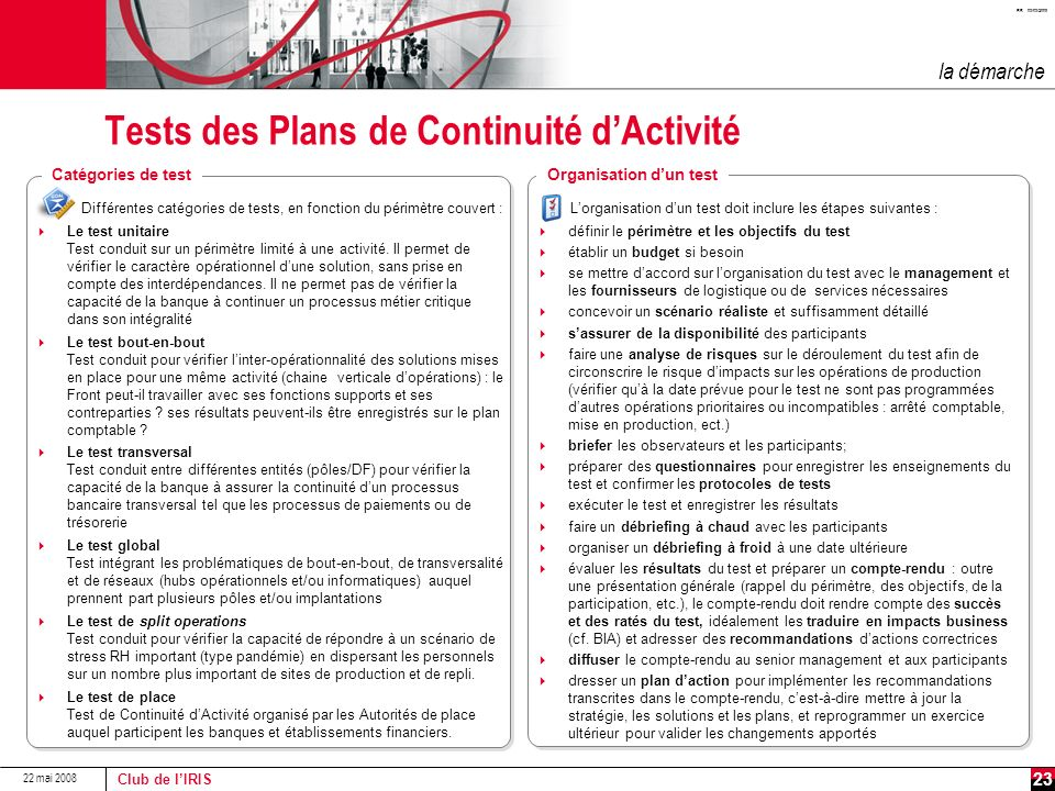 Tests des Plans de Continuité d'Activité