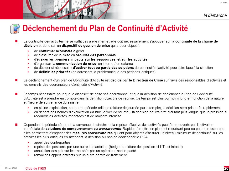 Déclenchement du Plan de Continuité d'Activité