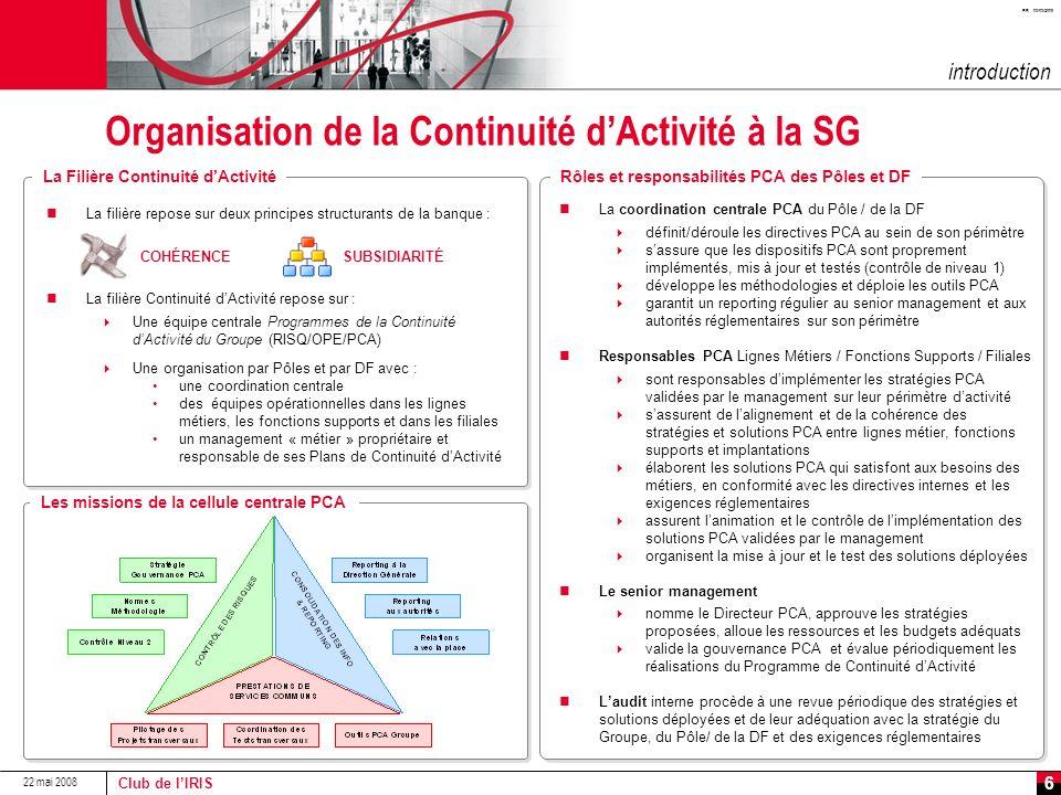 Organisation de la Continuité d'Activité à la SG