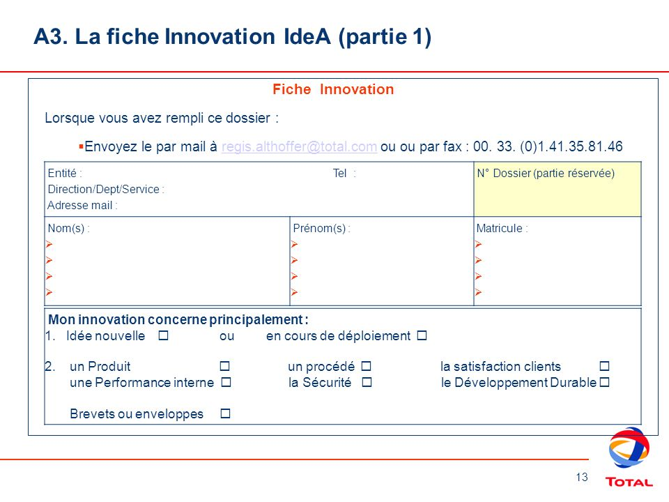 A3. La fiche Innovation IdeA (partie 1)