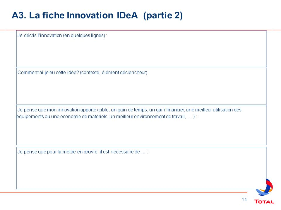 A3. La fiche Innovation IDeA (partie 2)