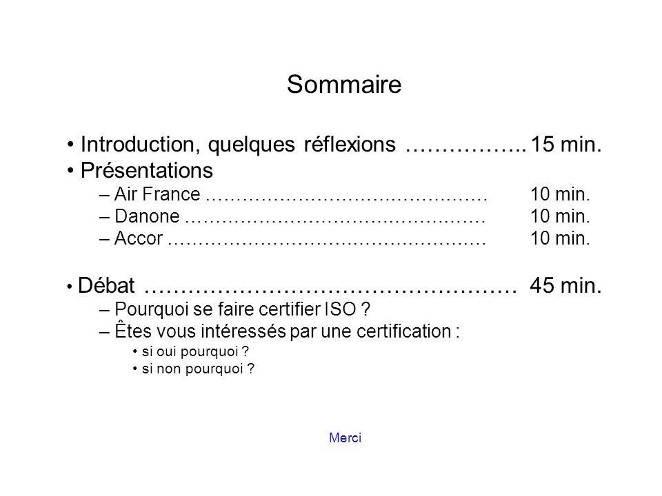 Sommaire Introduction, quelques réflexions …………….. 15 min.