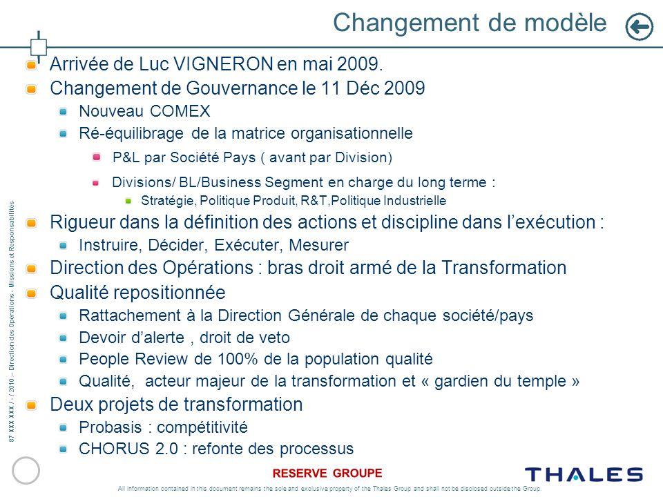Changement de modèle Arrivée de Luc VIGNERON en mai 2009.