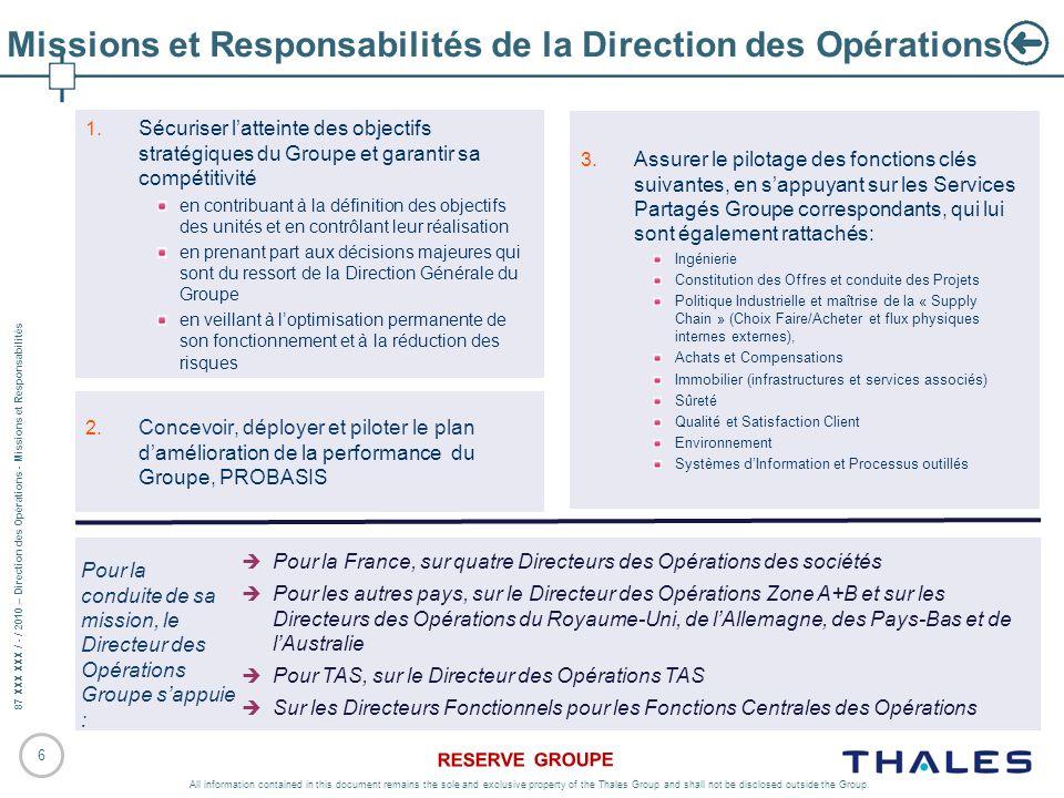 Missions et Responsabilités de la Direction des Opérations
