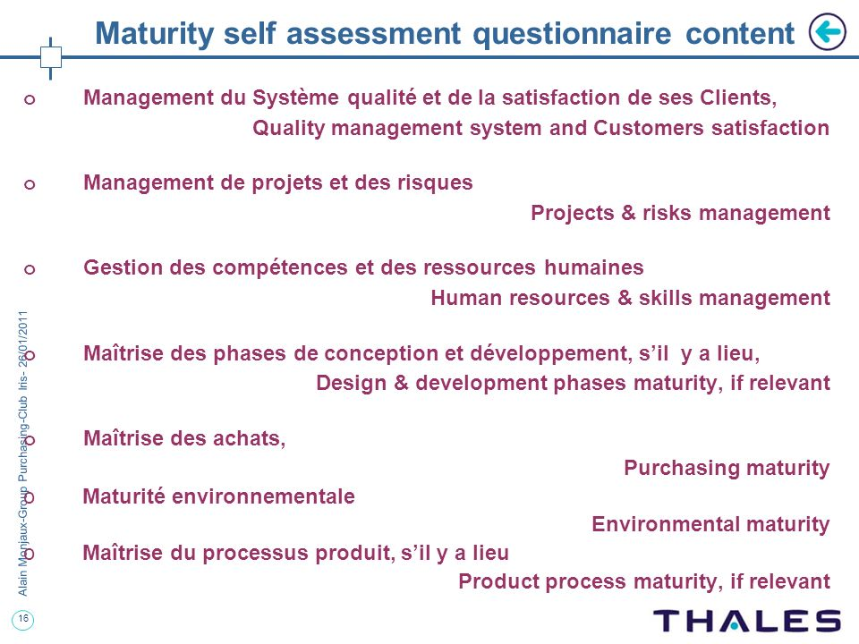 Maturity self assessment questionnaire content