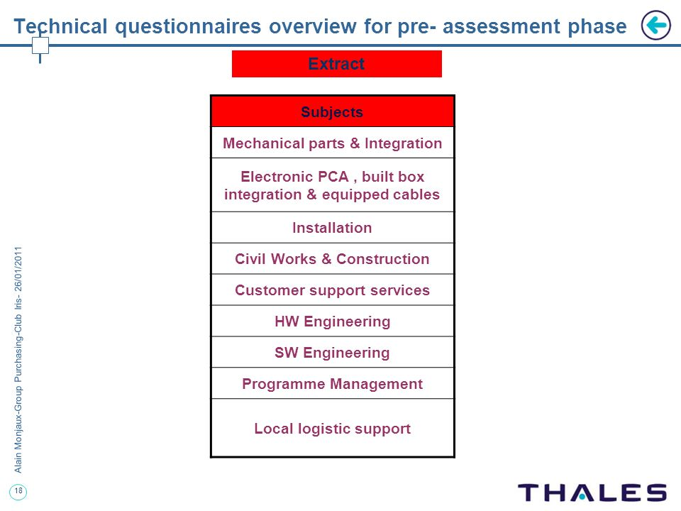 Technical questionnaires overview for pre- assessment phase