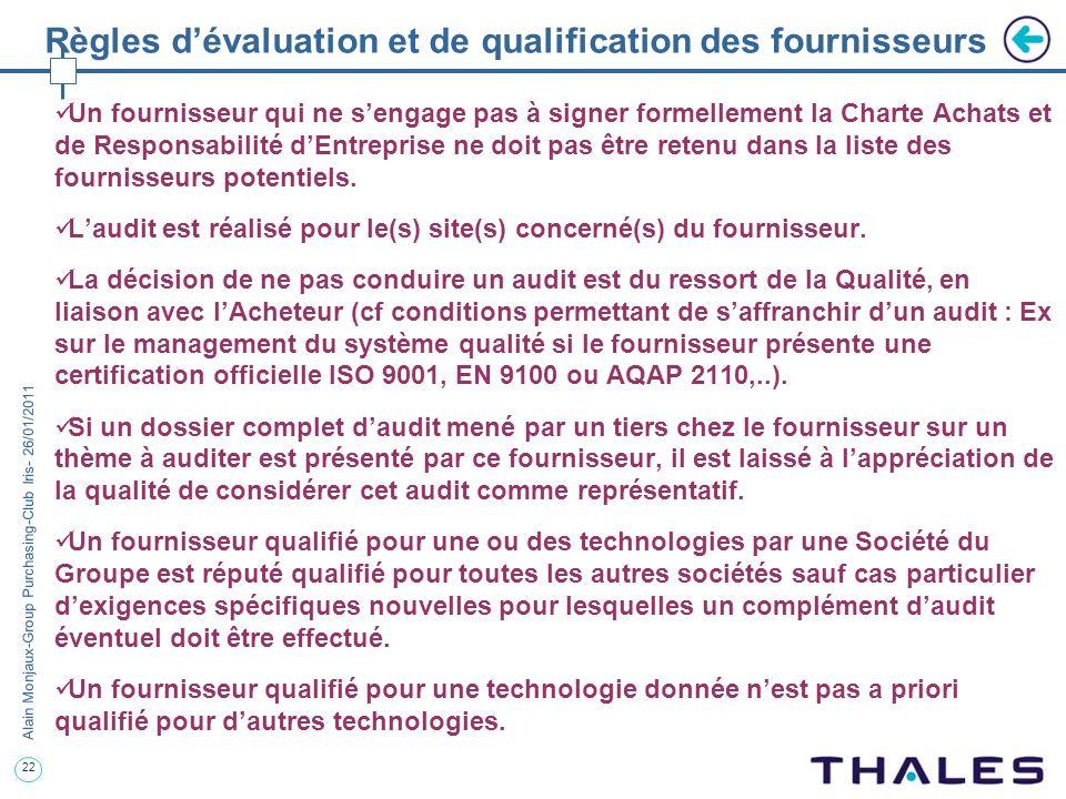 Règles d'évaluation et de qualification des fournisseurs