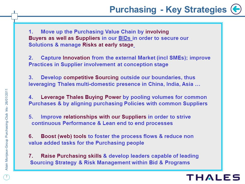 Purchasing - Key Strategies