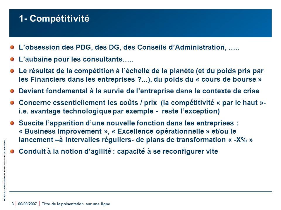 1- Compétitivité L'obsession des PDG, des DG, des Conseils d'Administration, ….. L'aubaine pour les consultants…..