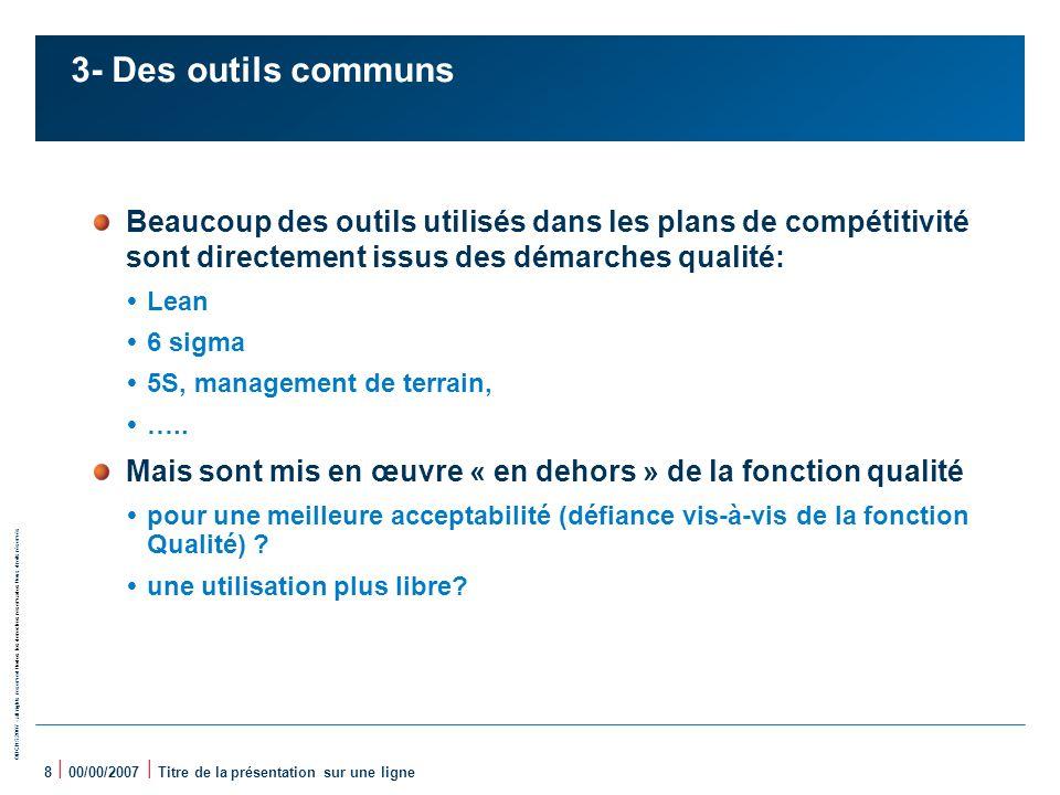 3- Des outils communs Beaucoup des outils utilisés dans les plans de compétitivité sont directement issus des démarches qualité: