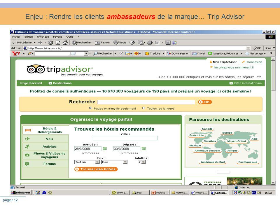 Enjeu : Rendre les clients ambassadeurs de la marque… Trip Advisor