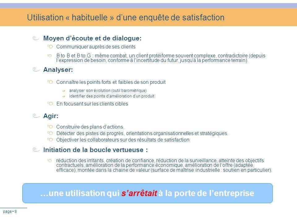 Utilisation « habituelle » d'une enquête de satisfaction