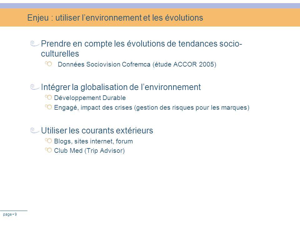 Enjeu : utiliser l'environnement et les évolutions