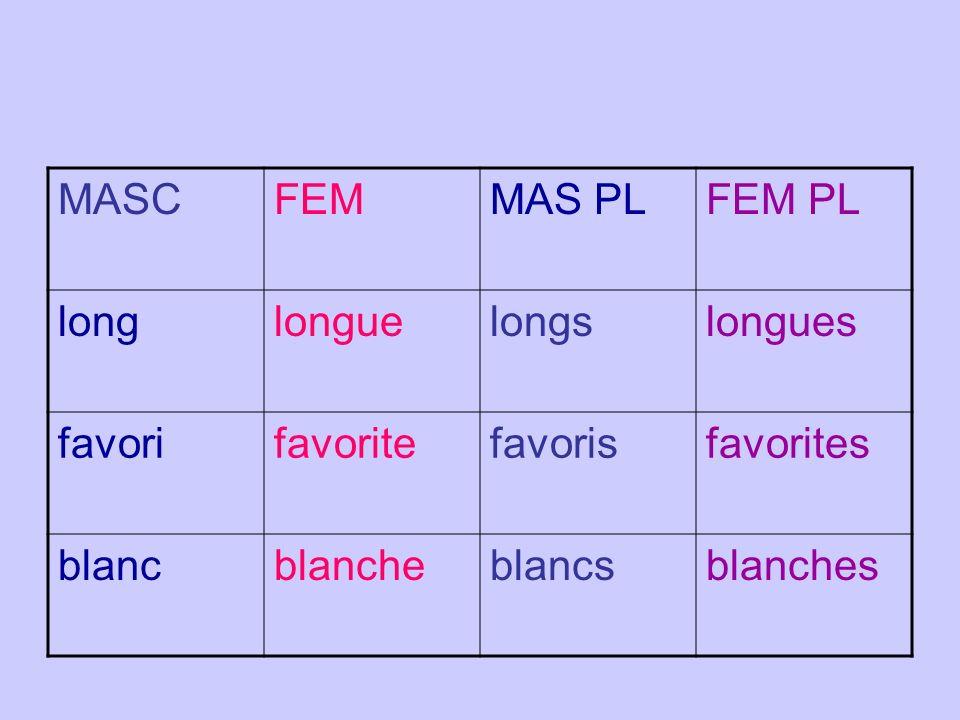 MASC FEM. MAS PL. FEM PL. long. longue. longs. longues. favori. favorite. favoris. favorites.