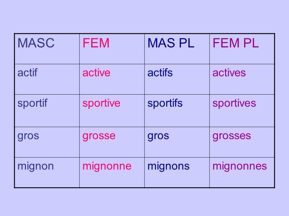 MASC FEM MAS PL FEM PL actif active actifs actives sportif sportive
